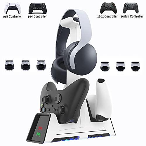 AQCTIM PS5 Cargador Mandos,Base de Carga y Almacenamiento Auriculares Multifuncional, para PS5/PS-4/SwitchPro/XboxOne/S/X/Elite/Series X,Protección Inteligente con LED Indicador Base de Carga Dual