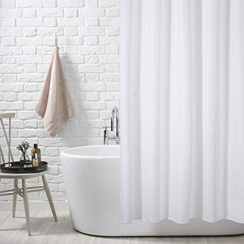 KAV douchegordijn waterdicht extra volledige badbedekking 220 cm (breed) x 180 cm (langer) 100% polyester gewogen zoom (Plain wit)