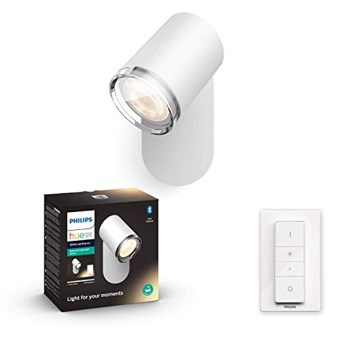 Philips Hue White Amb. Adore LED 1-er Spotleuchte Adore inkl. Dimmschalter, Bad-Beleuchtung, weiß, dimmbar, alle Weißschattierungen, steuerbar via App, kompatibel mit Amazon Alexa (Echo, Echo Dot)