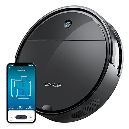 Robot Aspirapolvere Mini, 2NICE 2300Pa WiFi/App/Alexa/Google Aspirapolvere Robot, Robottino Aspirapolvere Mappatura Ricarica Automatica,110 min, per Peli di Animali, Pavimenti, Tappeti
