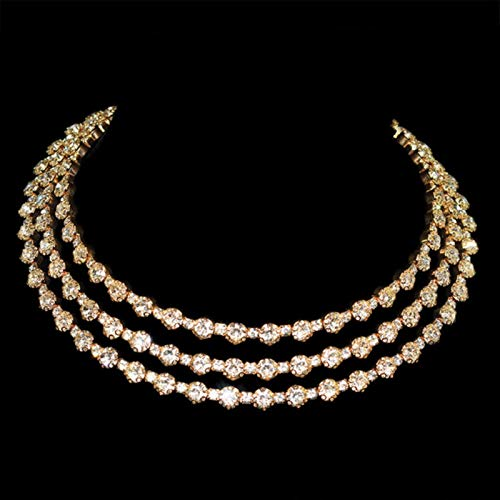 LIUL Gold Silver Plated Metal Rhinestone Collar Necklaces for Women Round Collar Fashion Jewelry Choker