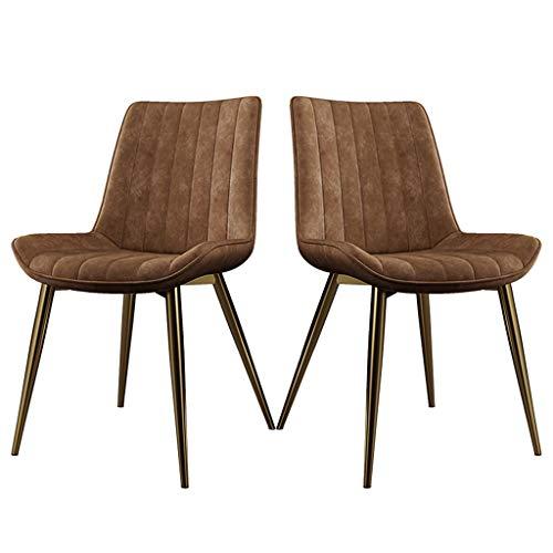 zyy Juego de 2 sillas de cocina, estilo vintage, sillas de cocina, sillas de salón, sala de estar, con patas de metal, asiento y respaldos de piel sintética (color naranja)