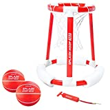 GoSports Splash Hoop 360 Floating Pool Basketball Game, Includes Water Basketball Hoop, 2 Balls and Pump