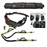 TAKSIN The Ultimate Two Dogs Hands Free Double Leash for Walking Running Hiking Training, Reflective Bungee & Handles, Treat Holder, Poop Bag Dispenser for Small Medium Large Dogs (Grey Deluxe Pack)