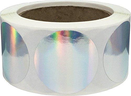 Plata Pegatinas de Círculos Holográficos, 51 mm 2 Pulgadas Etiquetas de Puntos 500 Paquete