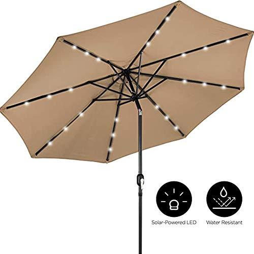 Winter Parapluies d'extérieur, Parapluie de Patio éclairé à Del Solaire de 10 Pieds avec réglage de l'inclinaison, Tissu résistant à la décoloration, 8 Nervures en Acier Robustes-Havane