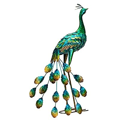 Kircust Peacock Garden Statue and Sculpture, Metal Peacocks Yard Art Lawn Ornament for Outdoor Backyard Porch Patio Decorations(1-Piece)