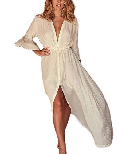 Bsubseach Women Flare Sleeve Button Up Long Bikini Swimsuit Cover Up White Open Front Beach Kimono Cardigan (Flare Kimono)