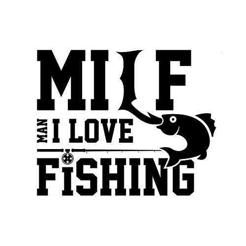 2 piezas, calcomanías para automóviles, Milf Man I Love Fishing Frase calcomanías blancas para calcomanías para automóviles, calcomanías para ventanas de automóviles, calcomanías de parachoques de