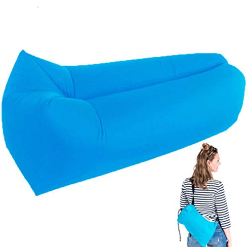 ZhenHe Nordic Aufblasbare Luft Lounger Chair faules Sofa Indoor/Outdoor Selbst Inflating Wasserdicht Blow Up Couch reißfester Halter for Camping, Strand, Park, Pool, Picknick, Blau Geeignet für Wohn