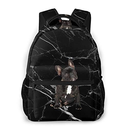 French Bulldog Waterproof Black Backpacks Gym Backpacks Travel Daypacks for Kids Boys Girls