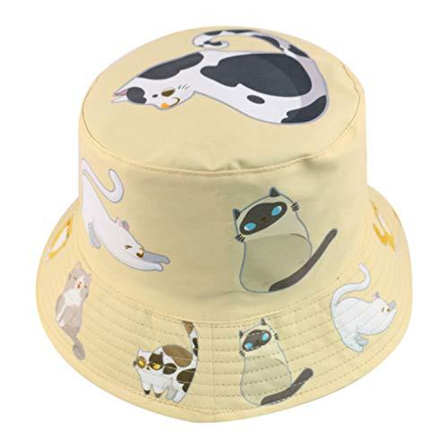 MTBDLYQ Chapeau De Pêcheur Femme,Unisex Double-Side Fisherman Hat Cute Animal Cat Print Kaki Pliable Bucket Cap, for Men Women Travel Randonnée Casual Hat Adult Flat Sun Hat