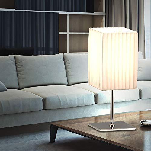 Globo Tischleuchte, weiß, Chrom mit Faltenschirm, Schalter 1 x 40 W, E14 H: 25 cm B: 10 x 10 cm 24660