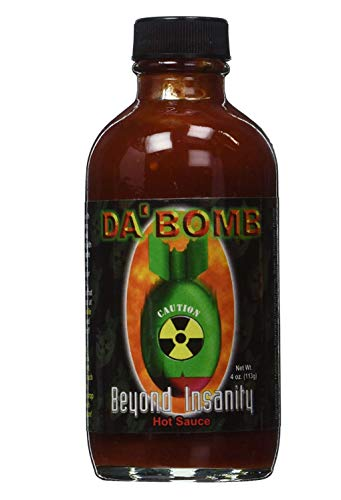 Da Bomb Beyond Insanity Hot Sauce, 4oz Bottle, Made with Habanero and Chipotle Peppers, Original Hot Sauce, Gluten Free, Keto, Sugar Free, Made in USA