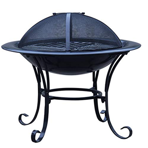 LZY Small Fire Pits Outdoor Wood Burning, Firepits for Outside Solo Stove Bonfire Pit with Grill and Mesh Cover, Fire Bowl for Patio Backyard Decor (Size : 15 inch)