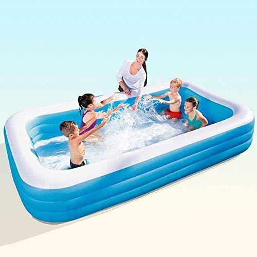 WYJW Familienrechteckiger aufblasbarer Pool Riesenpool für Kinder Erwachsene Babys Kleinkinder Gartengarten im Freien (3.05MX 1.83MX 56Cm)