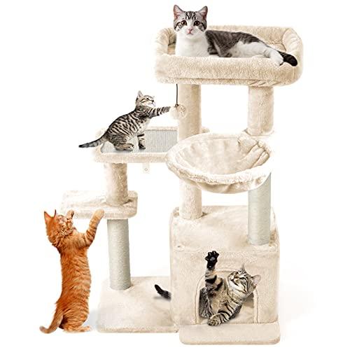 CatRomance Kratzbaum Kletterbaum Katzenbaum mit 2 Großer Aussichtsplattform, Stabiler Kratzbrett Liegemulde und Kuschelhöhle, Katzenbaum für Kitten und Grosse Katzen (Beige)