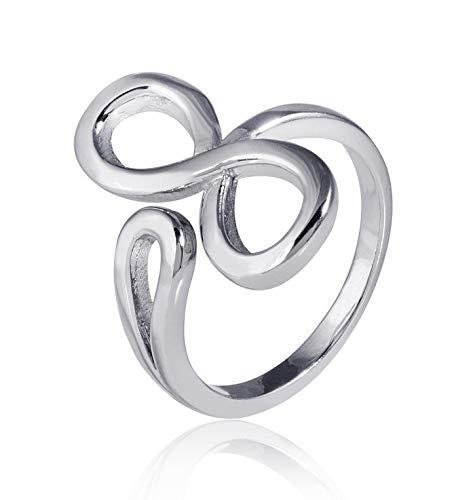 MATERIA 925 Silber Ring Unendlichkeit Schleife - Silber Damen Ring rhodiniert Gr. 51-62 + Box #SR-51, Ringgrößen:54 (17.2 mm Ø)