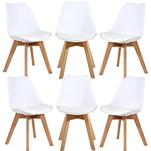 6 set,Sedia da pranzo in stile nordico,Sedie con gambe e cuscini in legno di faggio, utilizzate in sale da pranzo, soggiorni, uffici e altri luoghi (bianco)