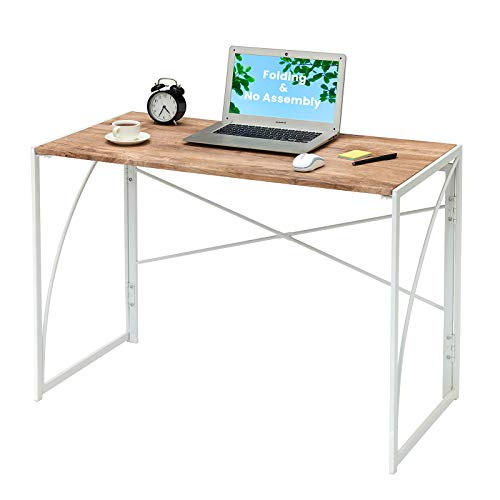 "Computer Writing Desk 39.4"" Folding No-Assembly Modern Simple Study Table Kids Desk Small Industrial Home Office Desk Wood Workstation with Arc Metal Frame, Beech and White"