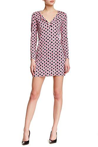 DVF Long-Sleeve Reina Jersey Tunic Dress - Check Dot Pink (8)