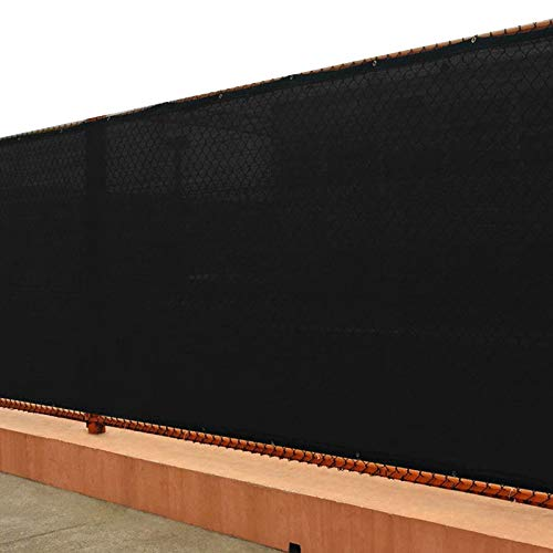 UPGRADE Privacy Screen Fence 4' x 50' Shade Cover with Brass Grommets Heavy Duty Perfect for Outdoor Back Yard-Black