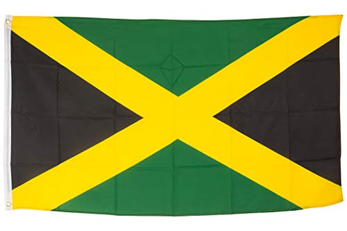 SCAMODA Bundes- und Länderflagge aus wetterfestem Material mit Metallösen (Jamaika) 150x90cm