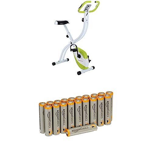 Ultrasport Heimtrainer F-Bike 150 mit Handpuls-Sensoren, Fitnessfahrrad mit Trainingscomputer und Handpulssensoren, klappbar, Orange mit Amazon Basics Batterien