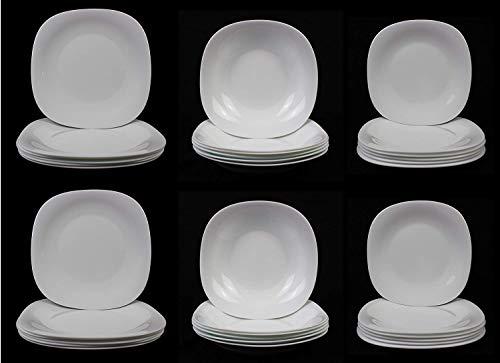 Fitting Gifts Bistro Collection Service de Table Parma Légèrement Carré, Blanc Brillant, avec 12x Assiettes Plates, 12x Assiettes Creuses, 12x Assiettes à Dessert et 2X Plats de Service (38 Pièces)