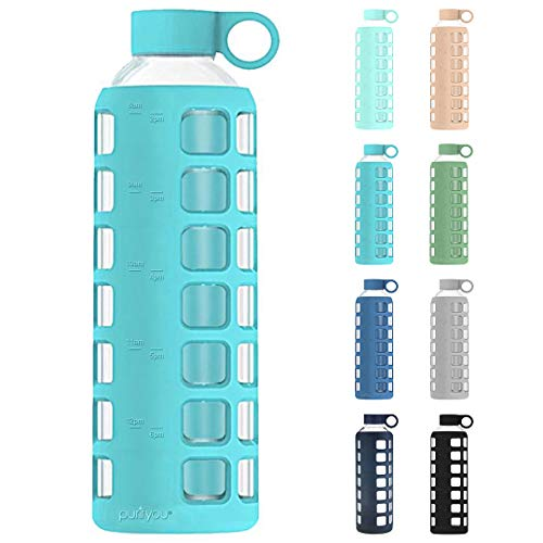 purifyou Premium Glass Water Bottle w/Time and Volume Markings Plus Ultra-Soft Silicone Sleeve & Stainless Steel Lid Insert 32/22 / 12 oz (Aqua Blue, 32 oz)