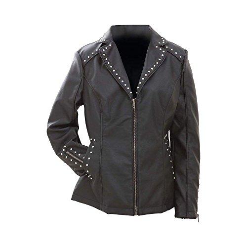 B & F System Inc BNFUSA GFJPSL Ladies Black Tailored Faux Leather Studded Jacket44; Large