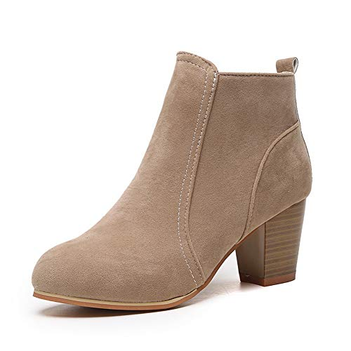 SwissWell Damen Stiefeletten mit hohen Absatz 7 cm Plateau Ankle Boots Kurz Stiefel High Heels Damen Schuhe mit Reißverschluss Khaki,EU-37