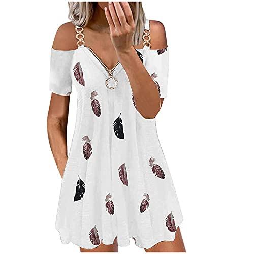 Nuevo 2021 Vestidos corto para Mujer, Moda Elegante Fiesta Vestido Manga Corta Verano basico Casual Playa Vestidos un hombros Impresión cremallera Cuello en V Vestidos Corta Vestido de noche