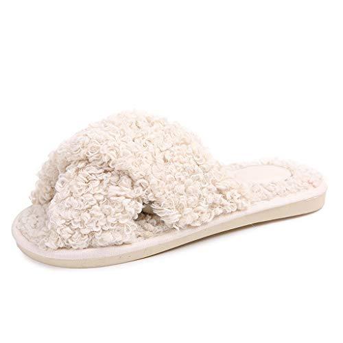 KFDS Indoor-pantoffels voor dames, lamsvacht, warme en comfortabel, traagschuim, wasbaar katoen, anti-slip familie schoenen