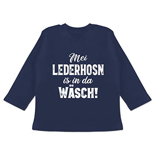 Oktoberfest & Wiesn Baby - MEI Lederhosn is in da Wäsch! - weiß - 3/6 Monate - Navy Blau - Lederhosen pink - BZ11 - Baby T-Shirt Langarm