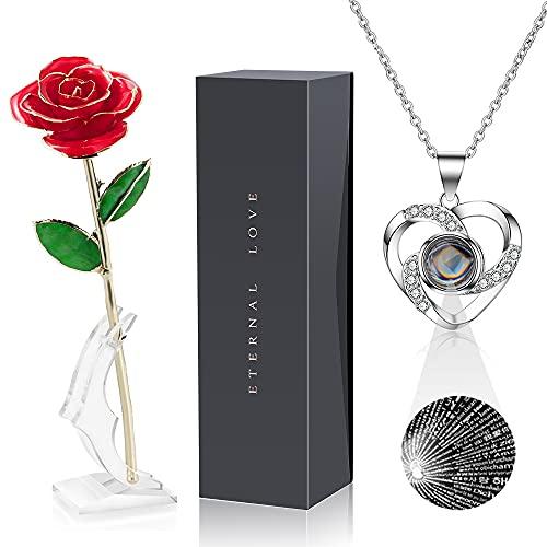 """Exquisita rosa artificial hecha a mano de 24 quilates en caja de rosas, regalo único para mujeres, Con collar """"Te amo"""" en 100 idiomas, para San Valentín, Día de la Madre, cumpleaños, Navidad"""