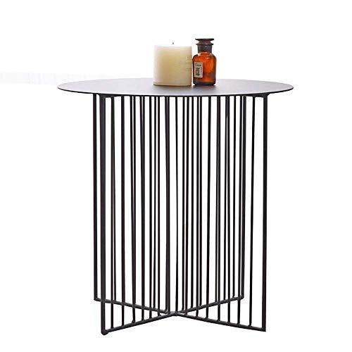 Home&Selected fineer/eenvoudige Scandinavische sofa rond metalen kant salontafel balkon telefoontafel vrijetijdstafel potplant (kleur: wit, maat: 70 x 45 cm) 45*45cm Zwart