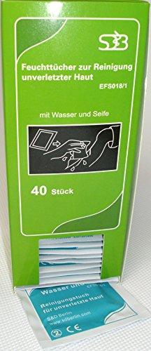 sterile Feuchttücher für unterwegs - einzeln verpackt (grün - Wasser und Seife)
