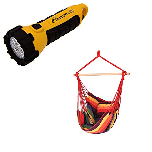 Toucan City LED Flashlight and Decor 3.5 ft. Fabric Hanging Hammock Swing with Two Cushions in Sunset LY-HCS-SS