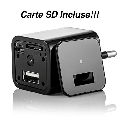 Mini Caméra Espion – Chargeur disposant d'UNE caméra de Surveillance cachée intégrée Full HD 1080p Avec détecteur de mouvement Pour capturer des vidéos Avec le Son (inclus 32GB)