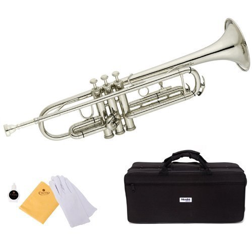 Mendini by Cecilio Nickel Plated Standard Bb Trumpet, Student Beginner with Hard Case, Gloves, 7C Mouthpiece, and Valve Oil