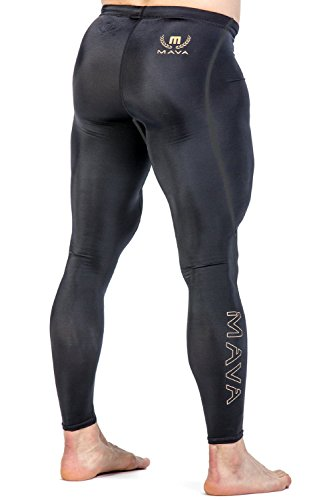 Mava Men's Compression Long Leggings - Base Layer Tights for Workouts & Sports