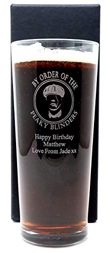 Engraved/Personalised *Peaky Blinders Design* New Pint Glass Gift Boxed (Cardboard Gift Box)