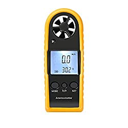 Proster Wind Speed Gauge Portable Handheld Anemometer LCD Digital Wind Speed Thermometer Air Flow Measure for Windsurfing Sailing Fishing Kiteflying Outdoor Activities