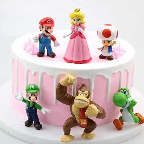 Cake Topper Set, 6 Pezzi Figures Cake Topper, Compleanno Decorazioni Torta, Cartoni Animati Cake Topper, Cupcake Figurine, Mini Figurine Decorazioni, Per la Decorazione di Torte per Feste (A)