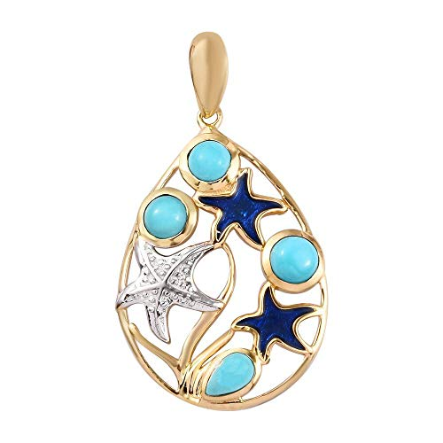 Sleeping Beauty Turquoise Enamelled Starfish Pendant in Platinum and Yellow Gold Plated 925 Sterling Silver 1.25 Ct.