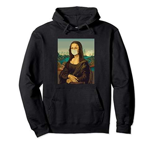 Mona Lisa mit Mundschutz - Leonardo Da Vinci Gesichtsmaske Pullover Hoodie
