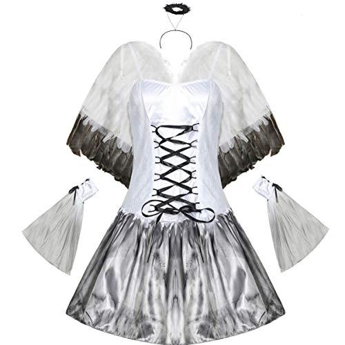 ABOOFAN Halloween Vestido de ngel Malvado Vampiro con Alas Set Diadema de ngel para Cosplay Disfraz de ala Vestido M