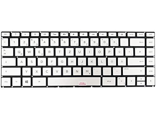 Deutsche Tastatur - Farbe: Silber mit Beleuchtung, ohne Rahmen - für HP Pavilion X360 14-ba006ng, 14-ba021ng, 14-ba170nz, 14-ba011ng, 14-ba026ng, 14-ba100ng, 14-ba012ng, 14-ba027ng, 14-ba101ng