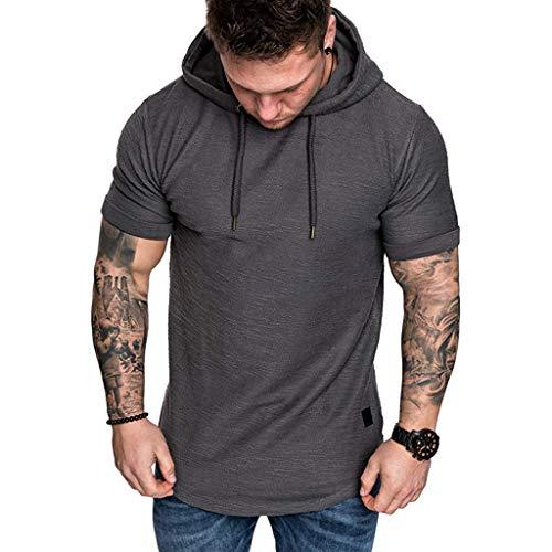 Aiserkly Mode Herren Slim Fit Lässige Große Größe Kurzarm Hoodie Top Bluse